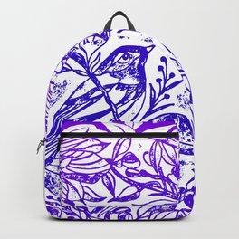 Songbird In Magnolia Wreath, Purple Linocut Backpack