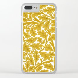 William Morris Oak Leaves, Mustard Yellow & White Clear iPhone Case