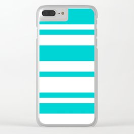 Mixed Horizontal Stripes - White and Cyan Clear iPhone Case