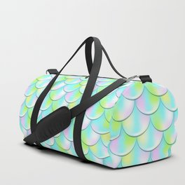Pink and Green Mermaid Pattern, Holographic Fish Scale Print Duffle Bag
