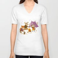 fall V-neck T-shirts featuring Critters: Fall Camping by Teagan White