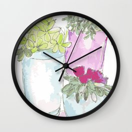 Whimsical Potted Plants Wall Clock