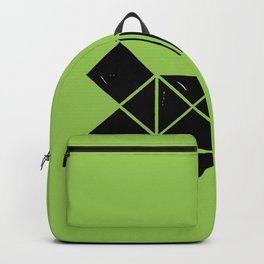 Hand Made Squares, Triangles with Ink on Paper on Warm Green Backpack