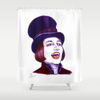 willy wonka Shower Curtains featuring Wonka by Indigo East by ieIndigoEast