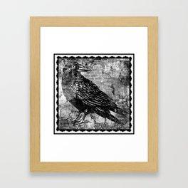 Raven - Black and White Framed Art Print