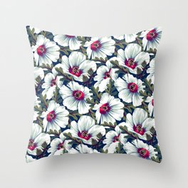 New Zealand Hibiscus Floral Print (Night) Throw Pillow