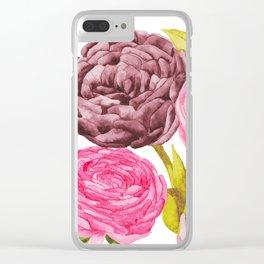 Ranunculus + Peonies Clear iPhone Case