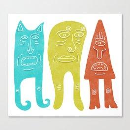 Three little creatures Canvas Print