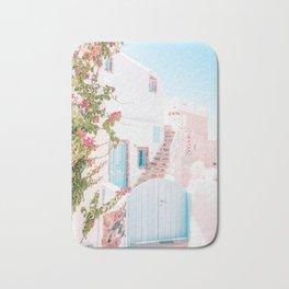 Santorini Greece Mamma Mia Pink House Travel Photography in hd. Bath Mat