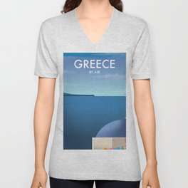 Greece By Air Vacation poster. Unisex V-Neck
