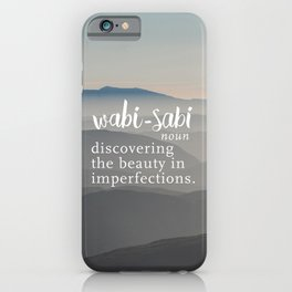 Wabi Sabi Word Nerd Definition - Mountains iPhone Case