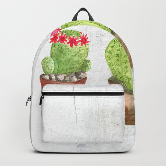 Three Cacti watercolor white Backpack