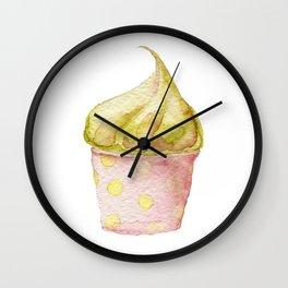 Watercolor Ice Cream Green Wall Clock