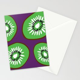 Bright Purple and Green Kiwifruit Pattern Stationery Cards