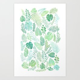 Green tropical leaves pattern Art Print