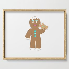Gingerbread Man eating Gingerbread cookie Serving Tray