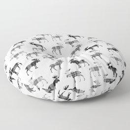 Moose Trot // Black & White Plaid Floor Pillow