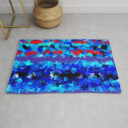Blue lights and red birds Rug