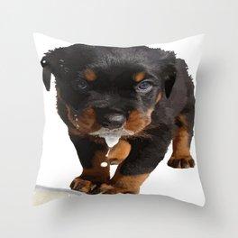 Cute Rottweiler Puppy Lapping Milk Vector Throw Pillow