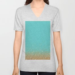 Sparkling gold glitter confetti on aqua teal damask background Unisex V-Neck