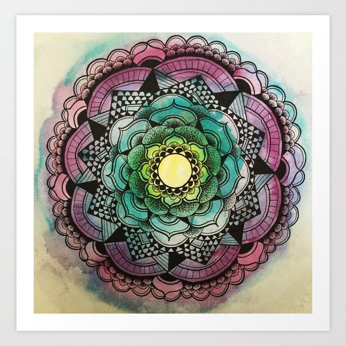 Graphic Flower Mandala Art Print