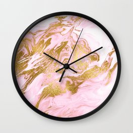 Rose Gold Mermaid Marble Wall Clock