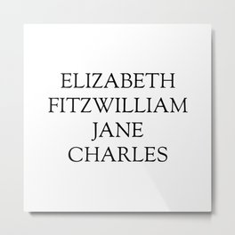 Main Characters from Pride and Prejudice  Metal Print