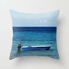 Blue boat red stripe in ocean water color photography Throw Pillow