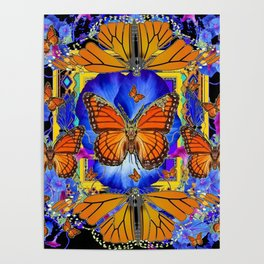 ABSTRACT ORANGE MONARCH BUTTERFLIES & BLUE FLORAL BLACK Poster