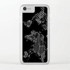 world map music vintage black 1 Clear iPhone Case