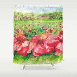 Red Flower Field Watercolors Shower Curtain
