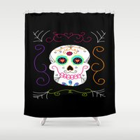 selena gomez Shower Curtains featuring Gomez by Designs By Misty Blue (Misty Lemons)
