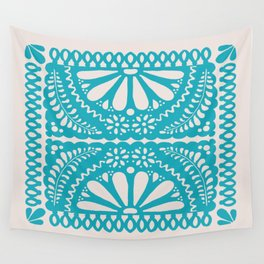 Fiesta de Flores Turquoise Wall Tapestry