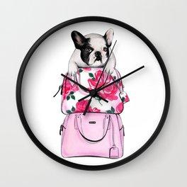 French bulldog art Bulldog print French bulldog print Bulldog art print Fashion sketch bulldog Wall Clock