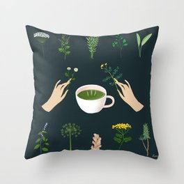 Magical Herbal Tea Throw Pillow