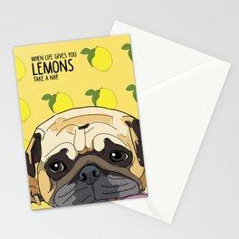 Pug Dog. When life gives you lemons, take a nap. Stationery Cards