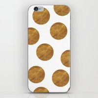 polkadot iPhone & iPod Skins featuring GOLD POLKADOT 2 by wlydesign