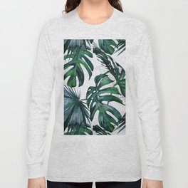 Tropical Palm Leaves Classic on Marble Long Sleeve T-shirt