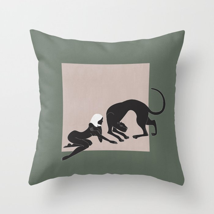 Panther Woman Throw Pillow