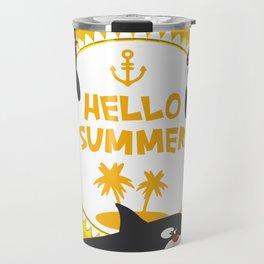 Hello Summer, Kawaii orca Travel Mug