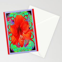 Italian  Style Design Red Amaryllis Abstract Stationery Cards