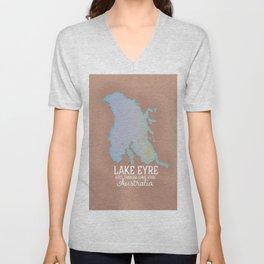 Lake Eyre Australia map poster Unisex V-Neck