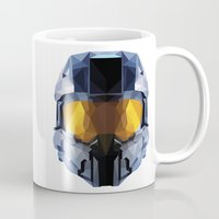 master chief Mugs featuring Geometric Master Chief - Halo  by Something a Little Awesome