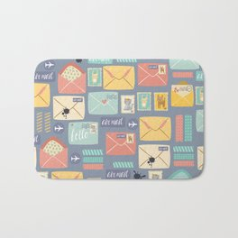 Retro styled pattern with letters and postcards Bath Mat