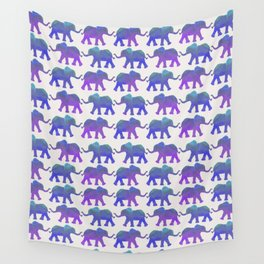 Follow The Leader - Painted Elephants in Royal Blue, Purple, & Mint Wall Tapestry