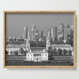 View of Queens House and Canary Wharf from Greenwich Park Serving Tray
