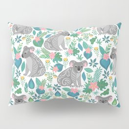 Cute gray koalas with ornaments, tropical flowers and leaves. Seamless tropical pattern. Pillow Sham