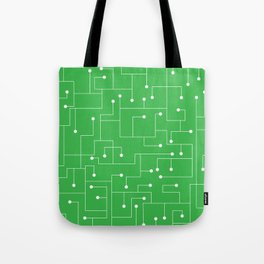 Cartoon Circuit Board Green and White Tote Bag