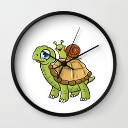 Cute & Funny Snail Riding on Turtle Yelling Wheee! Wall Clock