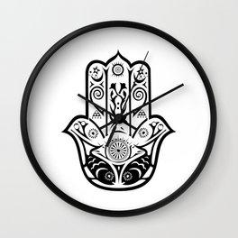 Hamsa fish Hand of Fatima spiritual Wall Clock